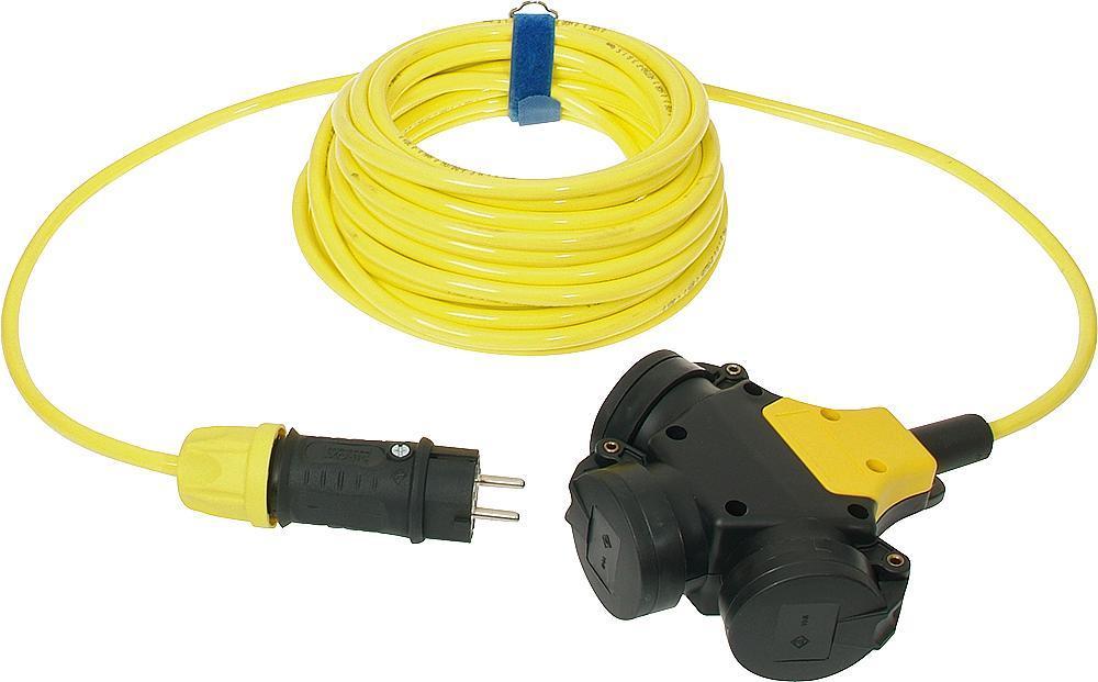 Verlengkabel 10 meter H07RN-F 3x2,5 geel met hangkoppeling