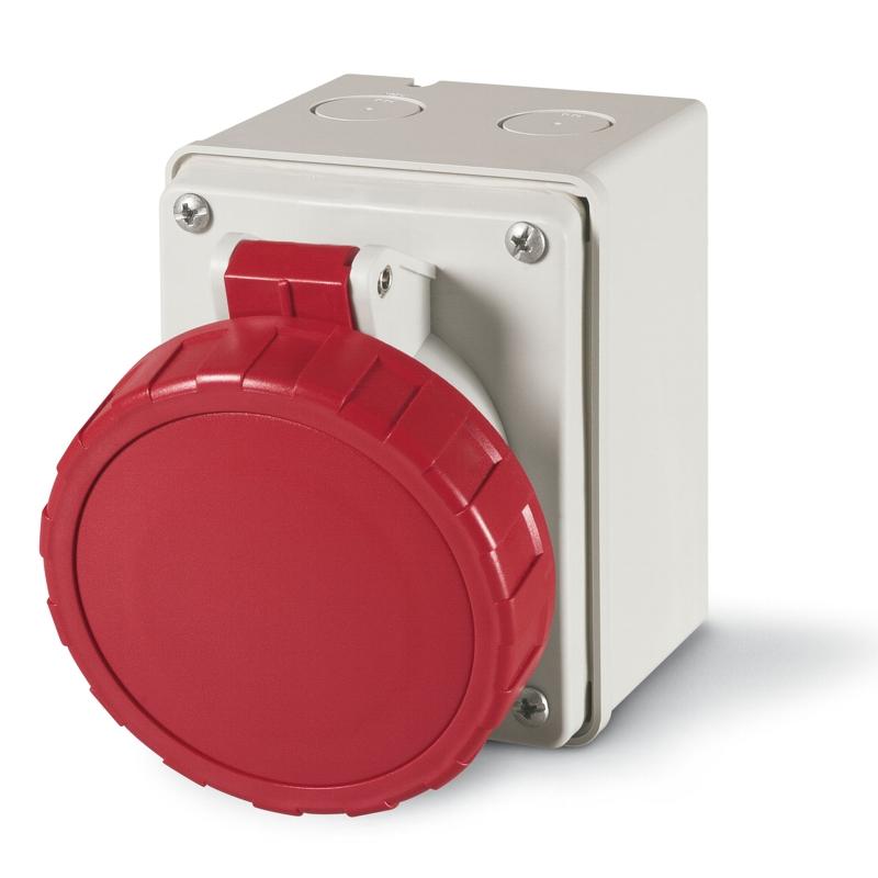 CEE-opbouwcontactdoos recht IP67 5-polig 32Amp. 400Volt