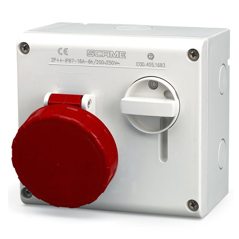 CEE-vergrendelbare contactdoos opbouw IP67 5-polig 32Amp. 400 Volt